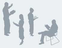 A leitura perfila o vetor dos esboços Fotografia de Stock Royalty Free