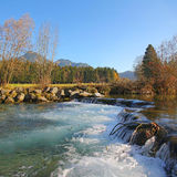 Leitzach river with stream rapids, bavaria Royalty Free Stock Photos