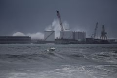 Leixoes harbor under heavy sea storm stock photo