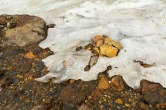 Leje się od stapiania lodowowie na aktywnym wulkanie Mutnovsky Obrazy Royalty Free