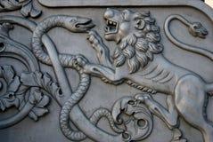 Lejon och orm Konung Cannon i MoskvaKreml Royaltyfria Foton