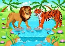 Lejon och tiger tillsammans i djungeln vektor illustrationer