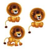Lejon som står och sitter, tecknad filmdesign vektor illustrationer