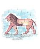 Lejon som visas på den Ishtar porten av Babylon, frihandsteckning stock illustrationer