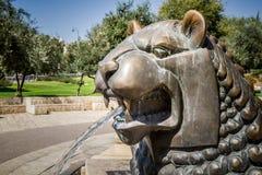Lejon springbrunn, Bloomfield trädgård i Jerusalem, Israel Fotografering för Bildbyråer