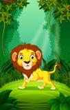 Lejon utom fara och grön skog vektor illustrationer