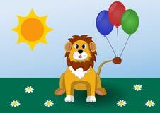 Lejonet ler och rymma ballonger Royaltyfri Foto