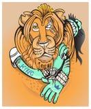 Lejonet representant av den sjunde månaden i ett horoskop Arkivbilder