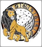 Lejonetzodiaktecken. Horoskopcirkel. Vektor Illustrati Arkivbild