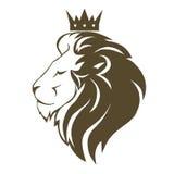 Lejonhuvud med kronalogo royaltyfri illustrationer