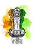 Lejonhuvudstad av Ashoka i indisk flaggafärg emblem india Vattenfärgtexturbakgrund Royaltyfri Fotografi