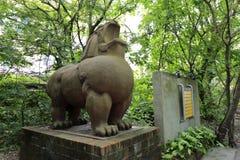 Lejonskulptur i den redtory idérika trädgården, guangzhou, porslin Royaltyfria Foton