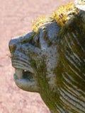 Lejonskulptur som täckas i mossa och lav Royaltyfri Fotografi