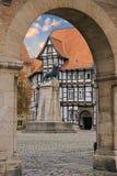 Lejonstaty och gammalt timrat hus i den Braunschweig uteplatsen Royaltyfri Foto