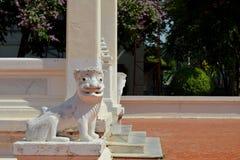 Lejonstaty på den Mahachai templet i Mahasarakham av Thailand Royaltyfri Fotografi
