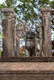 Lejonstatyn inom rådkammaren av konungen Nissankamamalla på Polonnaruwa i Sri Lanka royaltyfria bilder