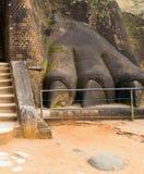 lejonstenen tafsar dekorerar porten till den Sigiriya fästningen som lokaliseras Royaltyfria Bilder