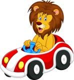 Lejontecknad film som kör bilen Royaltyfri Foto