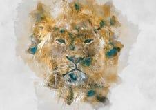 Lejonvattenfärgillustration Arkivfoton