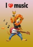 Lejonvippa med en gitarr Stock Illustrationer
