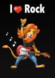 Lejonvippa med en gitarr vektor illustrationer