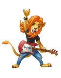 Lejonvippan med en gitarr och en grov bomullstvill flåsar royaltyfri illustrationer
