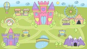 Lek för aktivitet för prinsessaslottlek matt för flickor stock illustrationer