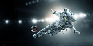 Lek för astronautspelarefotboll arkivfoto