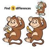 Lek för barn: fyndskillnader (liten apa) stock illustrationer