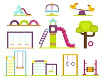 Lek för barndom för munterhet för barnlekplatsdagiset parkerar vektorn för leksaken för utrustning för gunga för aktivitetsställe Fotografering för Bildbyråer