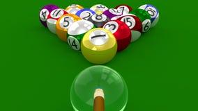 8 lek för bollpöl 3D - all boll Racked på måfå klart för avbrottsskott Arkivfoton