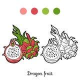 Lek för färgläggningbok: frukter och grönsaker (drakefrukt) Arkivfoto