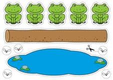 Lek för fem liten spräcklig grodor vektor illustrationer