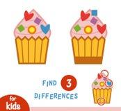 Lek för fyndskillnadutbildning, muffin stock illustrationer