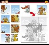 Lek för tecknad filmhundkapplöpning- och kattpussel Arkivfoton