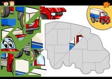 Lek för tecknad filmlastbilpussel Arkivbild