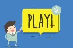 Lek för textteckenvisning Det begreppsmässiga fotoet kopplar in i aktivitet för njutning och rekreation som har roliga vänner royaltyfri illustrationer