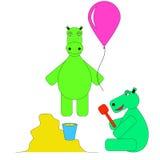 Lek för två flodhäst i sandlådan och ballongen Royaltyfria Foton