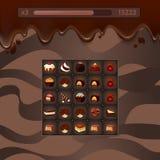 Lek för vektorbegreppsillustration med chokladgodisar, stock illustrationer
