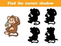 Lek för barn: Finna den korrekta skuggan (den lilla apan) Arkivbild
