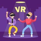 lek i exponeringsglasen av virtuell verklighet royaltyfri illustrationer