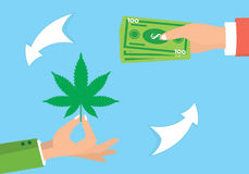 Lek kupczy ilustrację Nielegalny marihuana handel Leka rozdawać Zdjęcia Royalty Free