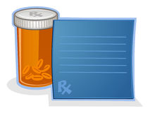 Lek Na Receptę pigułki butelki kreskówka Obrazy Royalty Free