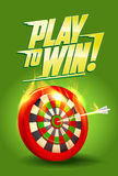 Lek som segrar design, den brännande målillustrationen, sporten eller affärsframgång Arkivbild
