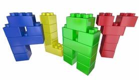 Lek Toy Building Blocks Letters Word stock illustrationer