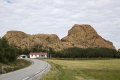 Lek wyspa, Norwegia, część czerwone góry Zdjęcia Stock