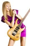 leka barn för elektrisk gitarrlady Royaltyfria Foton