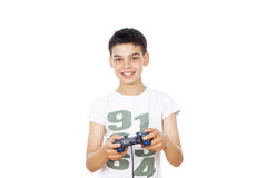 Leka dataspelar för pojke på styrspaken Royaltyfri Bild