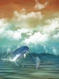 leka för delfiner Arkivbilder