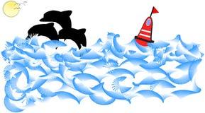 leka för delfinhav royaltyfri illustrationer
